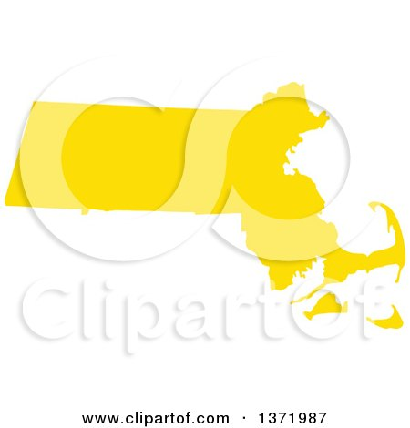Clipart of a Yellow Silhouetted Map Shape of the State of Massachusetts, United States - Royalty Free Vector Illustration by Jamers