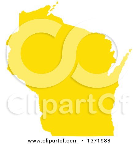 Clipart of a Yellow Silhouetted Map Shape of the State of Wisconsin, United States - Royalty Free Vector Illustration by Jamers