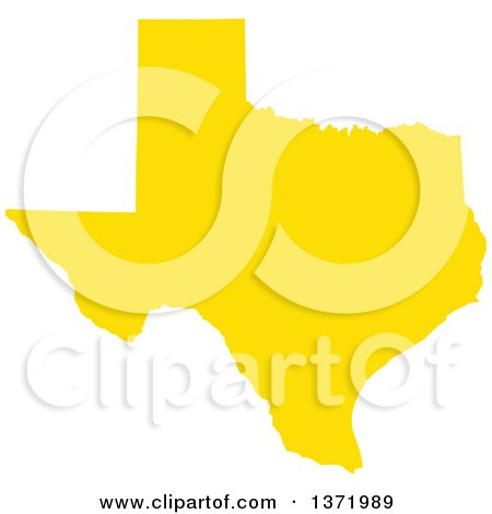 Clipart of a Yellow Silhouetted Map Shape of the State of Texas, United States - Royalty Free Vector Illustration by Jamers