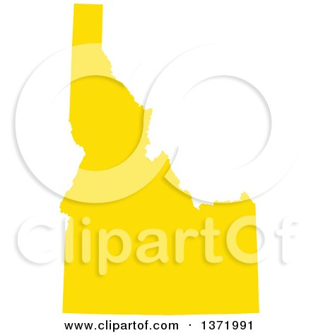 Clipart of a Yellow Silhouetted Map Shape of the State of Idaho, United States - Royalty Free Vector Illustration by Jamers