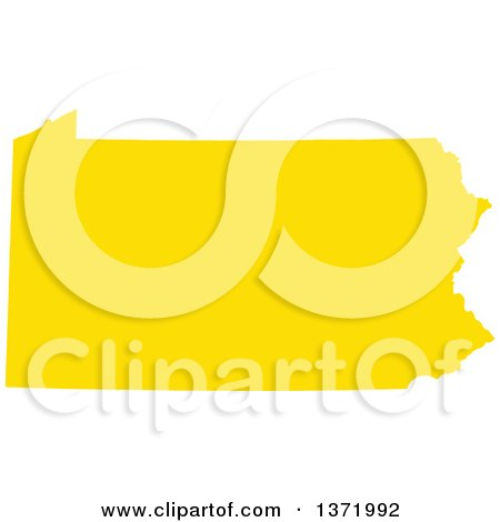 Clipart of a Yellow Silhouetted Map Shape of the State of Pennsylvania, United States - Royalty Free Vector Illustration by Jamers