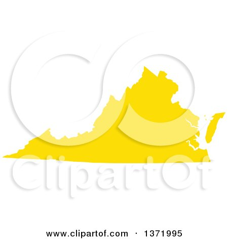 Clipart of a Yellow Silhouetted Map Shape of the State of Virginia, United States - Royalty Free Vector Illustration by Jamers