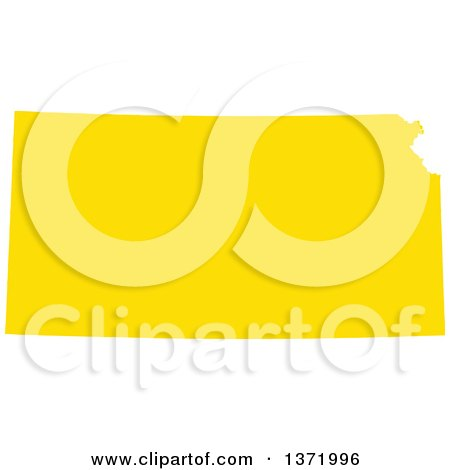Clipart of a Yellow Silhouetted Map Shape of the State of Kansas, United States - Royalty Free Vector Illustration by Jamers