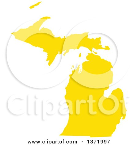 Clipart of a Yellow Silhouetted Map Shape of the State of Michigan, United States - Royalty Free Vector Illustration by Jamers