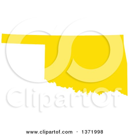 Clipart of a Yellow Silhouetted Map Shape of the State of Oklahoma, United States - Royalty Free Vector Illustration by Jamers