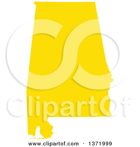 Clipart of a Yellow Silhouetted Map Shape of the State of Alabama, United States - Royalty Free Vector Illustration by Jamers