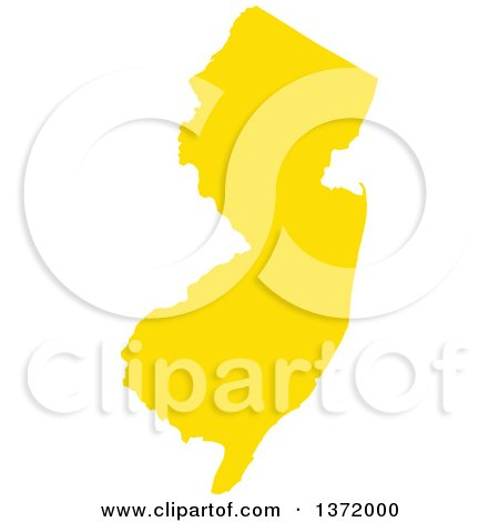 Clipart of a Yellow Silhouetted Map Shape of the State of New Jersey, United States - Royalty Free Vector Illustration by Jamers