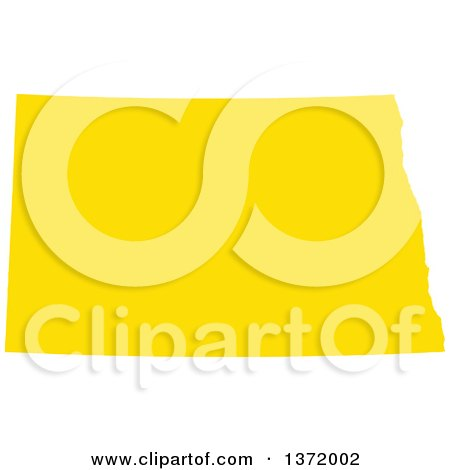 Clipart of a Yellow Silhouetted Map Shape of the State of North Dakota, United States - Royalty Free Vector Illustration by Jamers