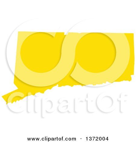 Clipart of a Yellow Silhouetted Map Shape of the State of Connecticut, United States - Royalty Free Vector Illustration by Jamers