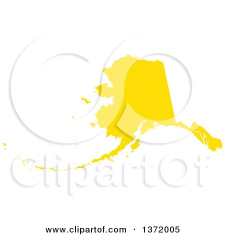 Clipart of a Yellow Silhouetted Map Shape of the State of Alaska, United States - Royalty Free Vector Illustration by Jamers