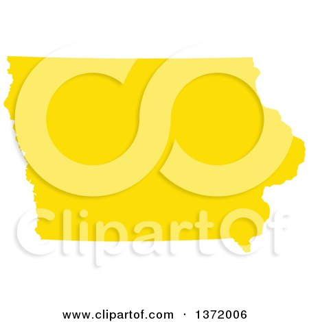 Clipart of a Yellow Silhouetted Map Shape of the State of Iowa, United States - Royalty Free Vector Illustration by Jamers