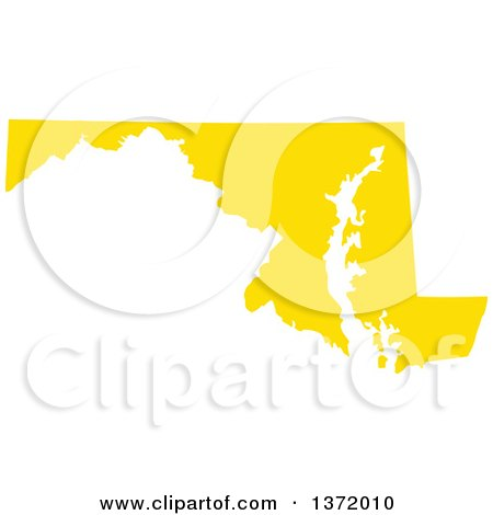 Clipart of a Yellow Silhouetted Map Shape of the State of Maryland, United States - Royalty Free Vector Illustration by Jamers