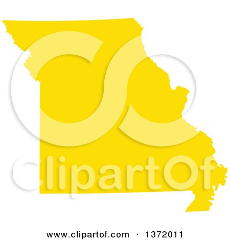 Clipart of a Yellow Silhouetted Map Shape of the State of Missouri, United States - Royalty Free Vector Illustration by Jamers