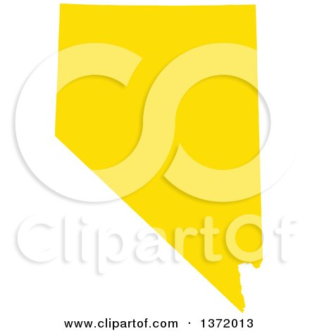 Clipart of a Yellow Silhouetted Map Shape of the State of Nevada, United States - Royalty Free Vector Illustration by Jamers