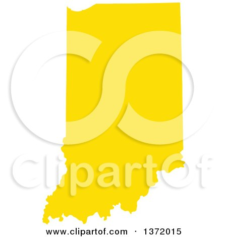 Clipart of a Yellow Silhouetted Map Shape of the State of Indiana, United States - Royalty Free Vector Illustration by Jamers