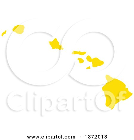 Clipart of a Yellow Silhouetted Map Shape of the State of Hawaii, United States - Royalty Free Vector Illustration by Jamers