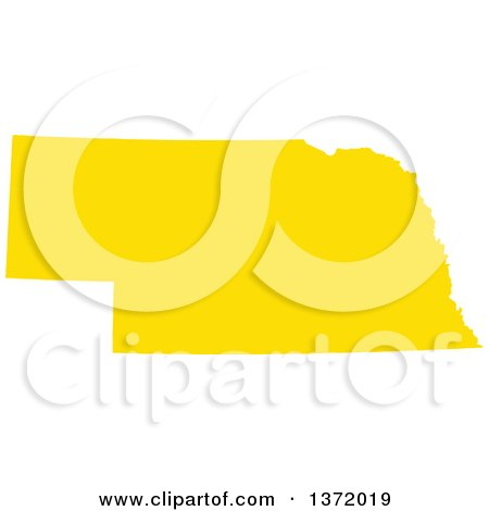Clipart of a Yellow Silhouetted Map Shape of the State of Nebraska, United States - Royalty Free Vector Illustration by Jamers