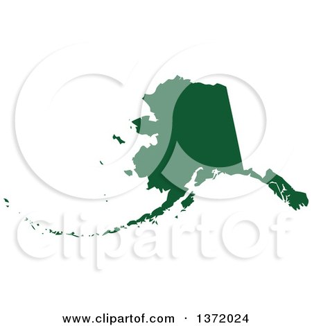 Clipart of a Dark Green Silhouetted Map Shape of the State of Alaska, United States - Royalty Free Vector Illustration by Jamers