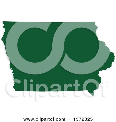 Clipart of a Dark Green Silhouetted Map Shape of the State of Iowa, United States - Royalty Free Vector Illustration by Jamers
