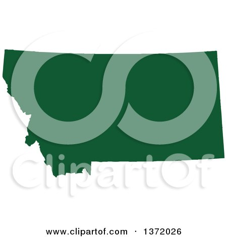 Clipart of a Dark Green Silhouetted Map Shape of the State of Montana, United States - Royalty Free Vector Illustration by Jamers
