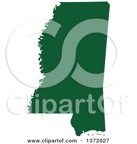 Clipart of a Dark Green Silhouetted Map Shape of the State of Mississippi, United States - Royalty Free Vector Illustration by Jamers