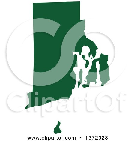 Clipart of a Dark Green Silhouetted Map Shape of the State of Rhode Island, United States - Royalty Free Vector Illustration by Jamers