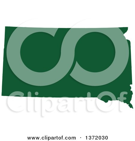 Clipart of a Dark Green Silhouetted Map Shape of the State of South Dakota, United States - Royalty Free Vector Illustration by Jamers