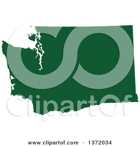 Clipart of a Dark Green Silhouetted Map Shape of the State of Washington, United States - Royalty Free Vector Illustration by Jamers