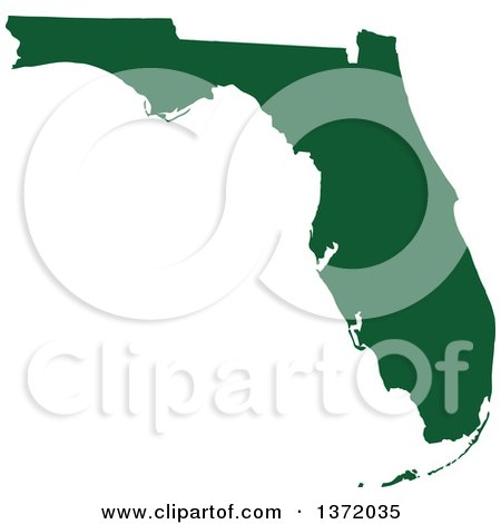 Clipart of a Dark Green Silhouetted Map Shape of the State of Florida, United States - Royalty Free Vector Illustration by Jamers