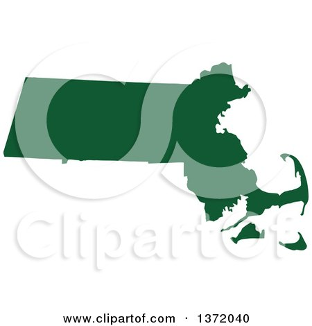 Clipart of a Dark Green Silhouetted Map Shape of the State of Massachusetts, United States - Royalty Free Vector Illustration by Jamers