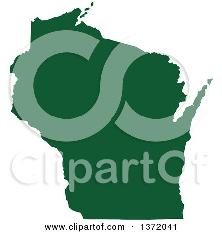 Clipart of a Dark Green Silhouetted Map Shape of the State of Wisconsin, United States - Royalty Free Vector Illustration by Jamers