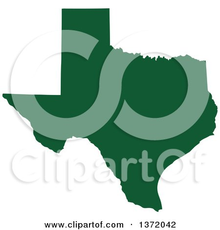 Clipart of a Dark Green Silhouetted Map Shape of the State of Texas, United States - Royalty Free Vector Illustration by Jamers