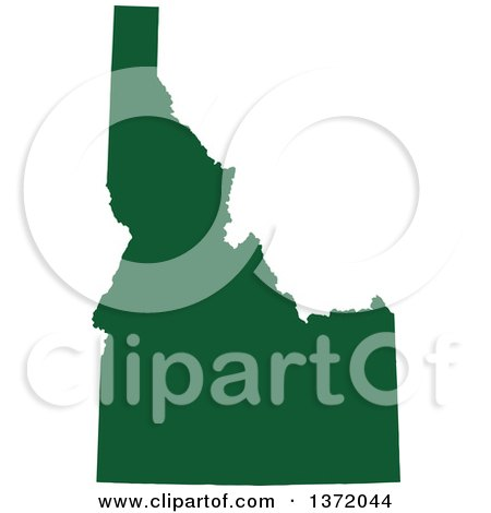 Clipart of a Dark Green Silhouetted Map Shape of the State of Idaho, United States - Royalty Free Vector Illustration by Jamers