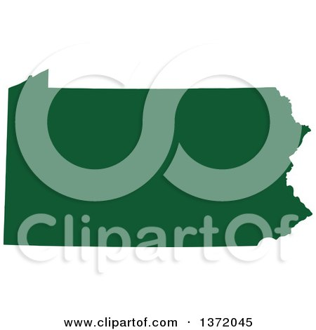 Clipart of a Dark Green Silhouetted Map Shape of the State of Pennsylvania, United States - Royalty Free Vector Illustration by Jamers