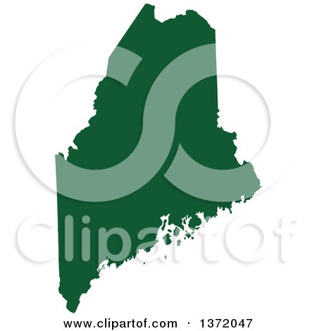 Clipart of a Dark Green Silhouetted Map Shape of the State of Maine, United States - Royalty Free Vector Illustration by Jamers