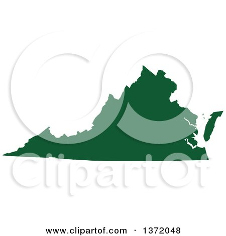 Clipart of a Dark Green Silhouetted Map Shape of the State of Virginia, United States - Royalty Free Vector Illustration by Jamers