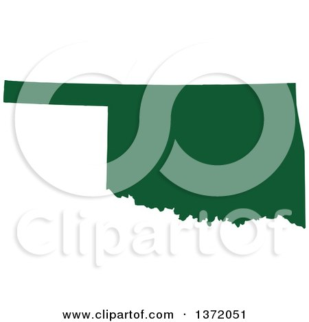 Clipart of a Dark Green Silhouetted Map Shape of the State of Oklahoma, United States - Royalty Free Vector Illustration by Jamers