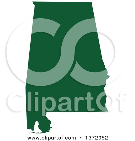 Clipart of a Dark Green Silhouetted Map Shape of the State of Alabama, United States - Royalty Free Vector Illustration by Jamers