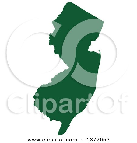 Clipart of a Dark Green Silhouetted Map Shape of the State of New Jersey, United States - Royalty Free Vector Illustration by Jamers