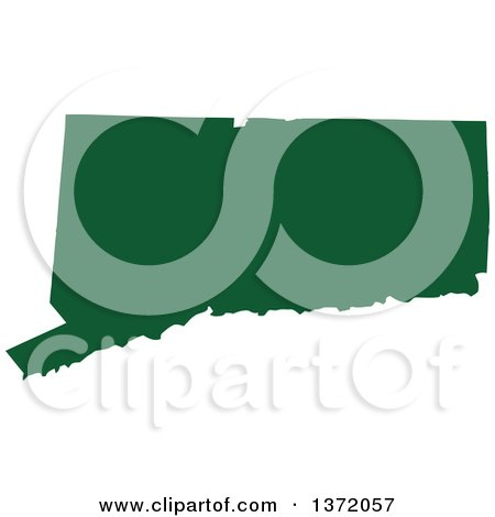 Clipart of a Dark Green Silhouetted Map Shape of the State of Connecticut, United States - Royalty Free Vector Illustration by Jamers