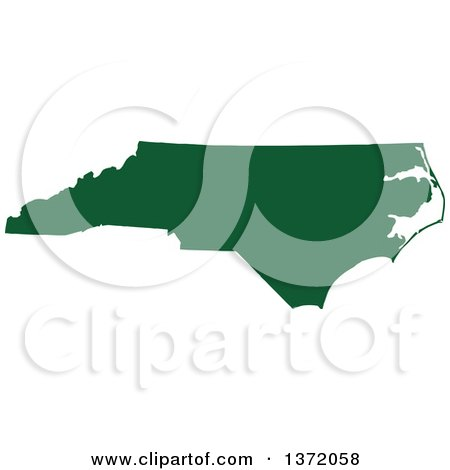Clipart of a Dark Green Silhouetted Map Shape of the State of North Carolina, United States - Royalty Free Vector Illustration by Jamers