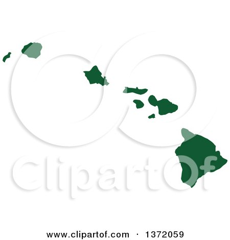 Clipart of a Dark Green Silhouetted Map Shape of the State of Hawaii, United States - Royalty Free Vector Illustration by Jamers
