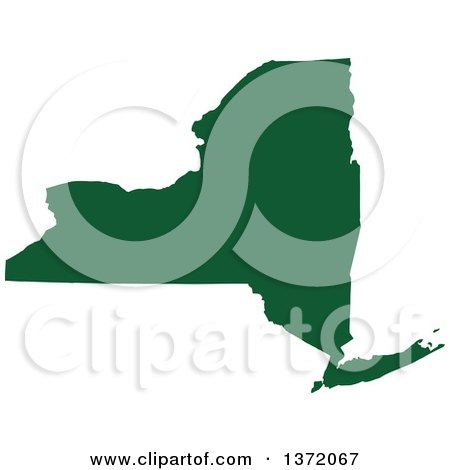 Clipart of a Dark Green Silhouetted Map Shape of the State of New York, United States - Royalty Free Vector Illustration by Jamers