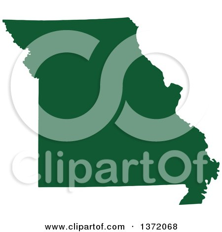 Clipart of a Dark Green Silhouetted Map Shape of the State of Missouri, United States - Royalty Free Vector Illustration by Jamers