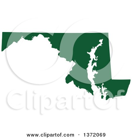 Clipart of a Dark Green Silhouetted Map Shape of the State of Maryland, United States - Royalty Free Vector Illustration by Jamers