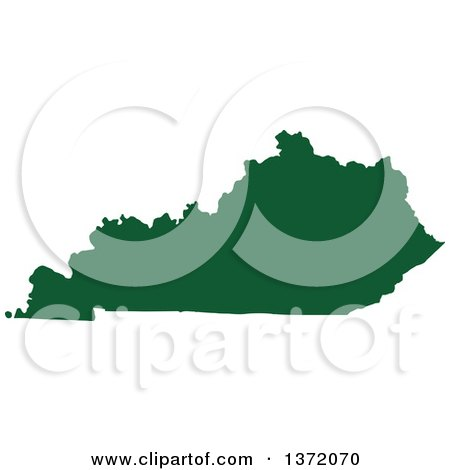 Clipart of a Dark Green Silhouetted Map Shape of the State of Kentucky, United States - Royalty Free Vector Illustration by Jamers