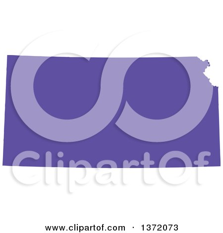 Clipart of a Purple Silhouetted Map Shape of the State of Kansas, United States - Royalty Free Vector Illustration by Jamers