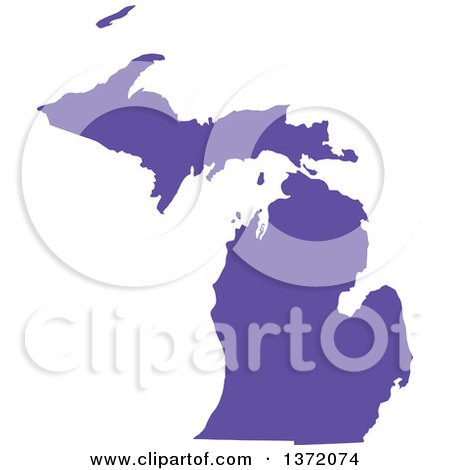 Clipart of a Purple Silhouetted Map Shape of the State of Michigan, United States - Royalty Free Vector Illustration by Jamers
