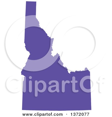 Clipart of a Purple Silhouetted Map Shape of the State of Idaho, United States - Royalty Free Vector Illustration by Jamers