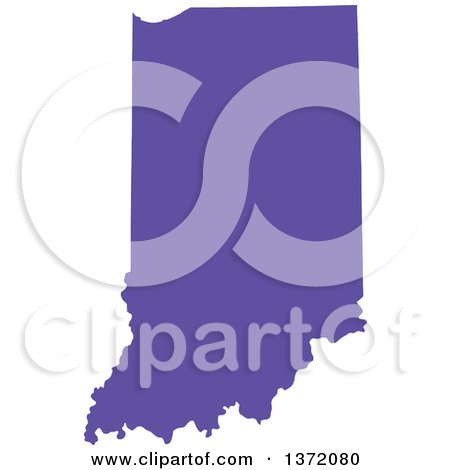 Clipart of a Purple Silhouetted Map Shape of the State of Indiana, United States - Royalty Free Vector Illustration by Jamers
